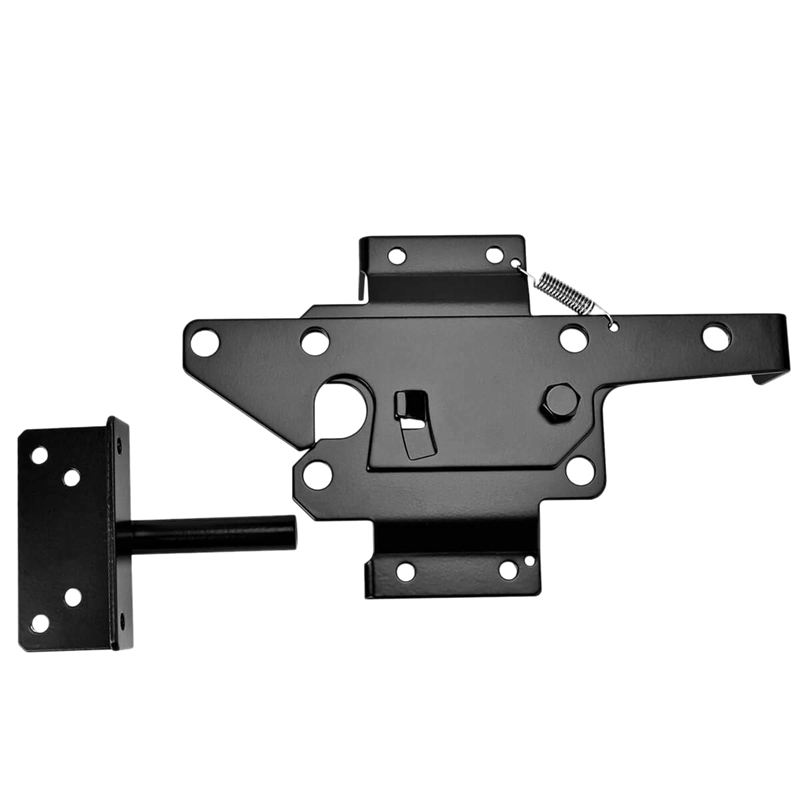 Self-Locking Gate Latch - Post Mount Automatic Gravity Lever Wood Fence Gate Latches with Fasteners/Black Finish Steel Gate Latc