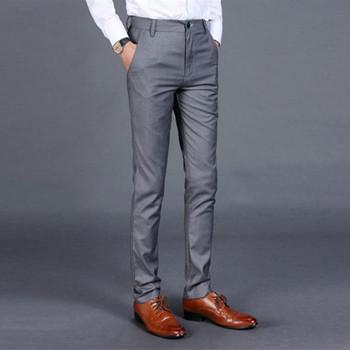 Jesień męskie długie szare ponadgabarytowe spodnie Slim Business formalne spodnie szare męskie ubranie biurowe męskie proste bawełniane spodnie wizytowe tanie i dobre opinie COTTON Mieszkanie Smart Casual Zipper fly Garnitur spodnie