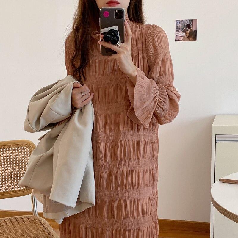 H35f0bedd823646ba99a6318e2e451f89r - Autumn Korean O-Neck Flare Long Sleeves Chiffon Pleated Midi Dress
