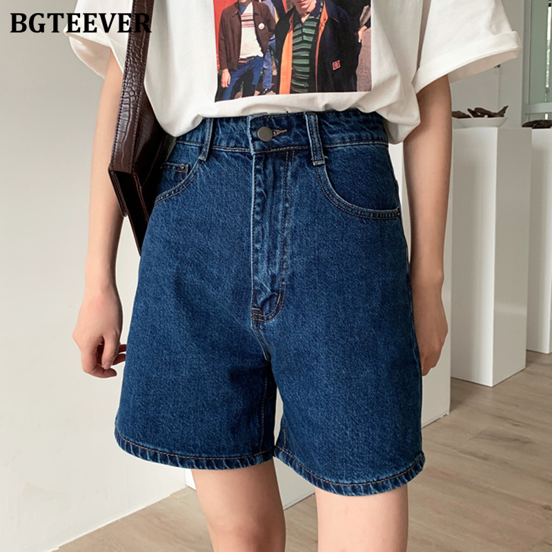 BGTEEVER Summer Casual Hot Shorts For Women High Waist Button Up Female Denim Shorts Jeans Femme 2020 Streetwear