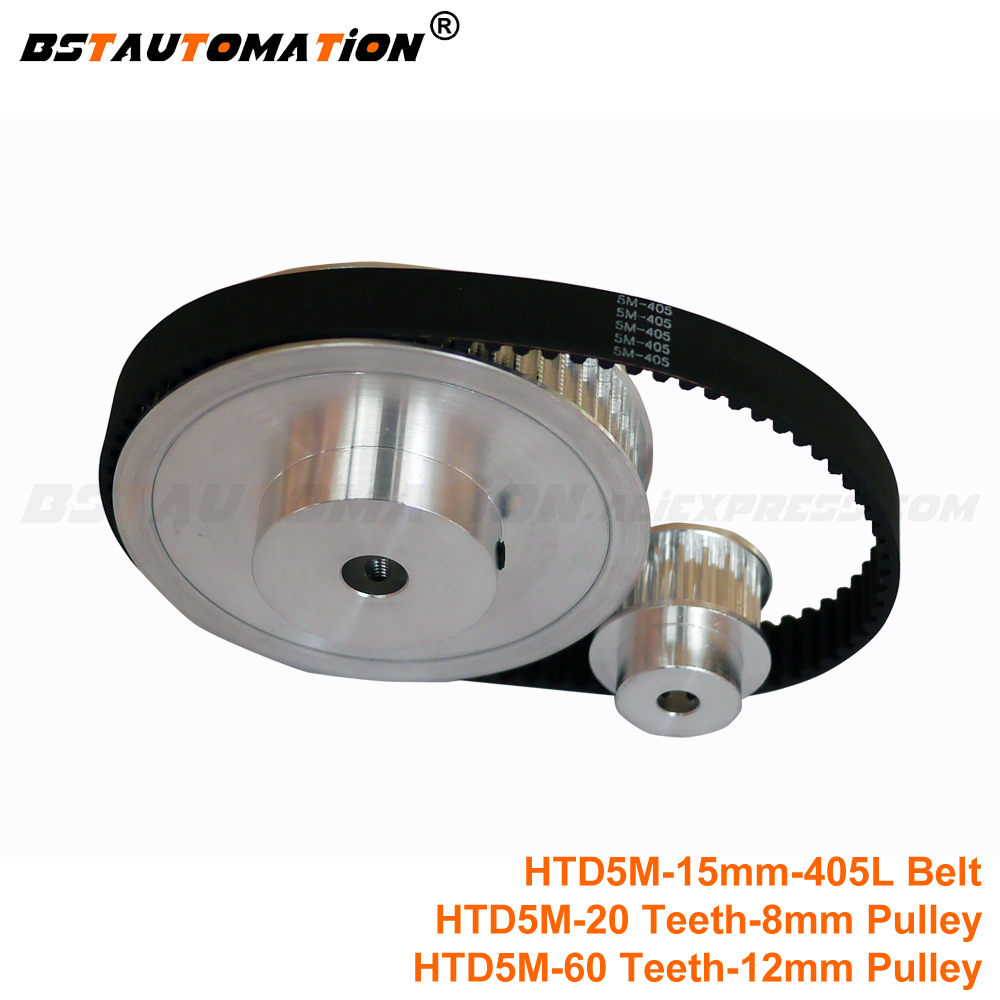 <font><b>HTD5M</b></font> 15mm width 405mm Timing Belt with 20 Teeth 8mm <font><b>HTD5M</b></font> Timing Pulley + 60 Teeth 12mm <font><b>HTD5M</b></font> Timing Pulley for 3D Printer image
