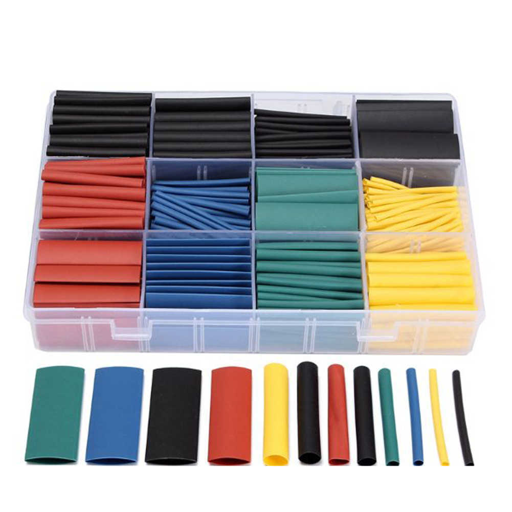 530pcs Heat Shrink Tubing Insulation Shrinkable Tubes Assortment Electronic Polyolefin Wire Cable Sleeve Kit Heat Shrink Tubes