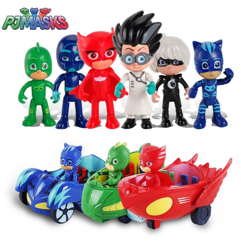 6pcs/set PJ MASKS Toy Car Cat Kid Child Catboy Owlette Gekko Pajamas Doll Juguete Pj Masked Toys For Children Car Gift S06