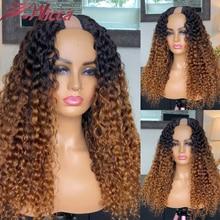 U-образные парики для женщин, парики из человеческих волос с эффектом омбре, бразильские волосы без повреждений, размер 2*4, U-образные парики, ...