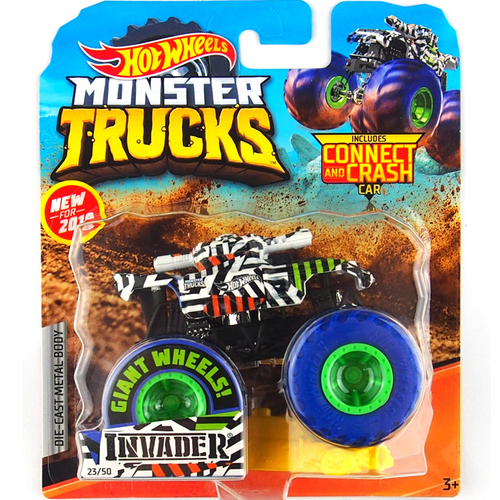 1: 64 оригинальные горячие колеса гигантские колеса Crazy Barbarism Монстр металлическая модель грузовика игрушки Hotwheels большая ножная машина детский подарок на день рождения - Цвет: 25 INVADER