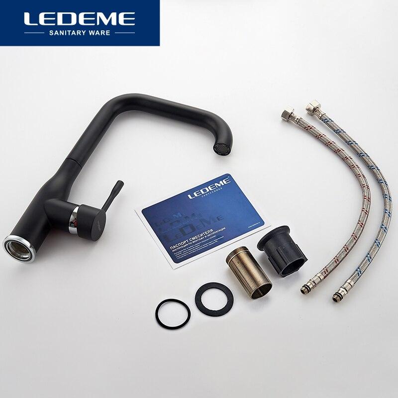 LEDEME Spray paint Swivel Kitchen Faucet Brass material Cozinha Torneira Deck Mounted Single Hole Faucets Mixer Tap L4698
