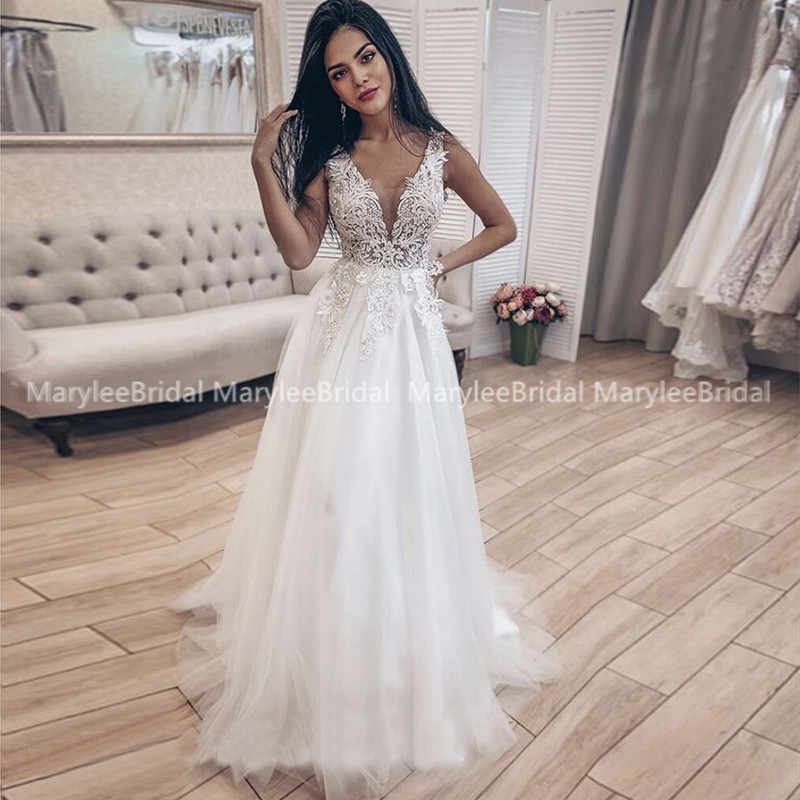 Boho Wedding Dresses Deep V-neck Suknie Slubne Appliques Long Bride Dress Backless Princess Wedding Party Gowns Robe De Mariee