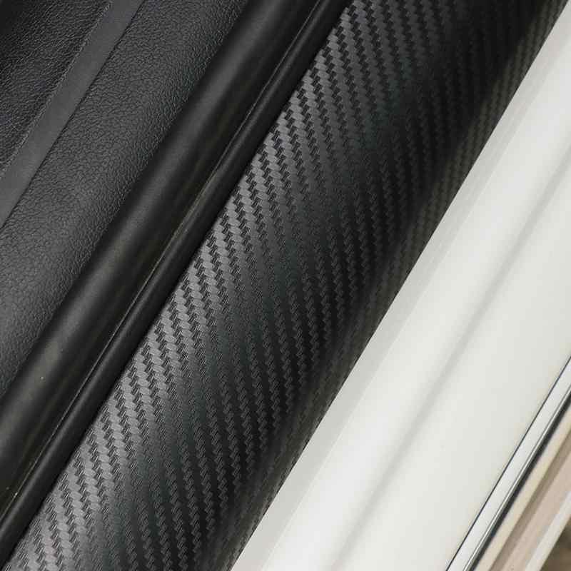4 pièces film de Protection de seuil de porte de voiture autocollant 3D en fibre de carbone anti-rayures avec grattoir pour toutes les voitures