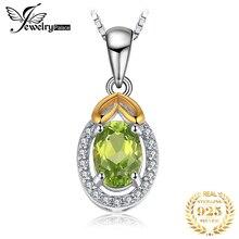 цена Natural Peridot Pendant Necklace 925 Sterling Silver Gemstones Choker Statement Necklace Women silver 925 Jewelry Without Chain онлайн в 2017 году