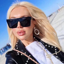 Oversized Square Sunglasses Men Women Flat Top Fashion One P