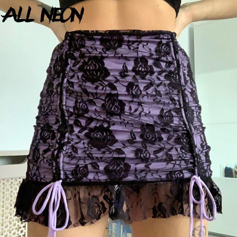 ALLNeon Y2K Mall Goth эстетичная мини-юбка на шнуровке с оборками E-girl винтажная Двухслойная юбка с рюшами и кружевной отделкой панк