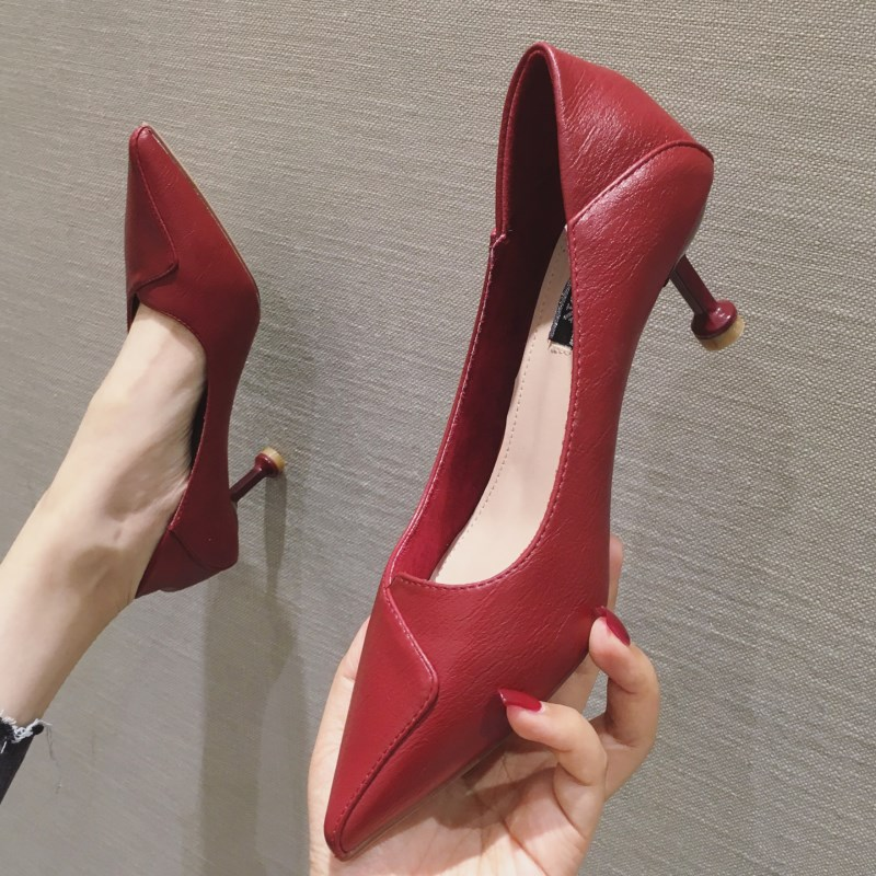 SLHJC Women Leather Pumps Shoes Mid Kitten Heel Office Lady Shallow Mouth Pointy Toe Slip On Spring Autumn Heels Shoes