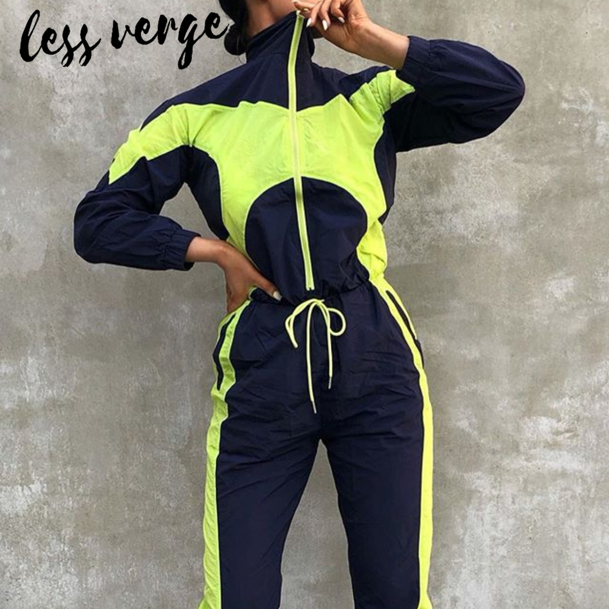 Lessverge Neon Patchwork Skinny Jumpsuits Rompers Women Long Sleeve Zipper Bandage Jumpsuit Sport Casual One Piece Overalls