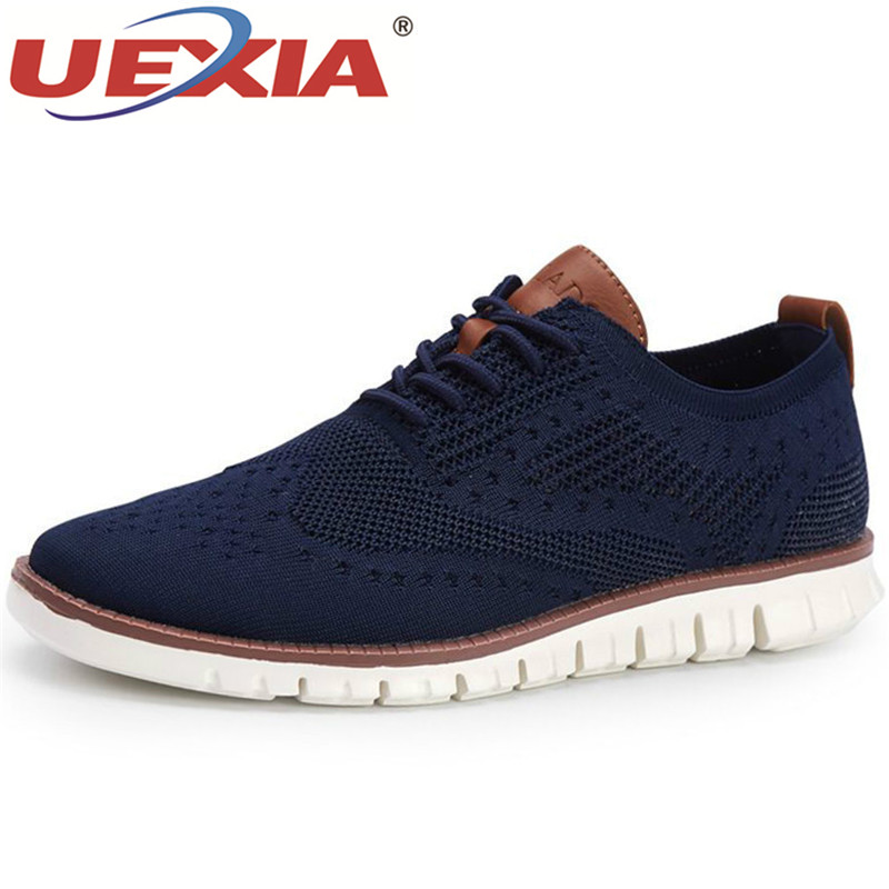 UEXIA New Summer Men's Shoes Lace Up Lightweight British Dress Mesh Footwear Fashion Hollow Breathable Knitted Mesh Flats Shoes