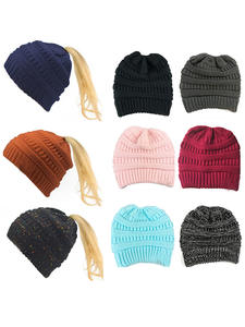 Female Cap Hat Beanies-Cap Horsetail-Hat Knitted Warm Foldable Winter Thick Womens Branded