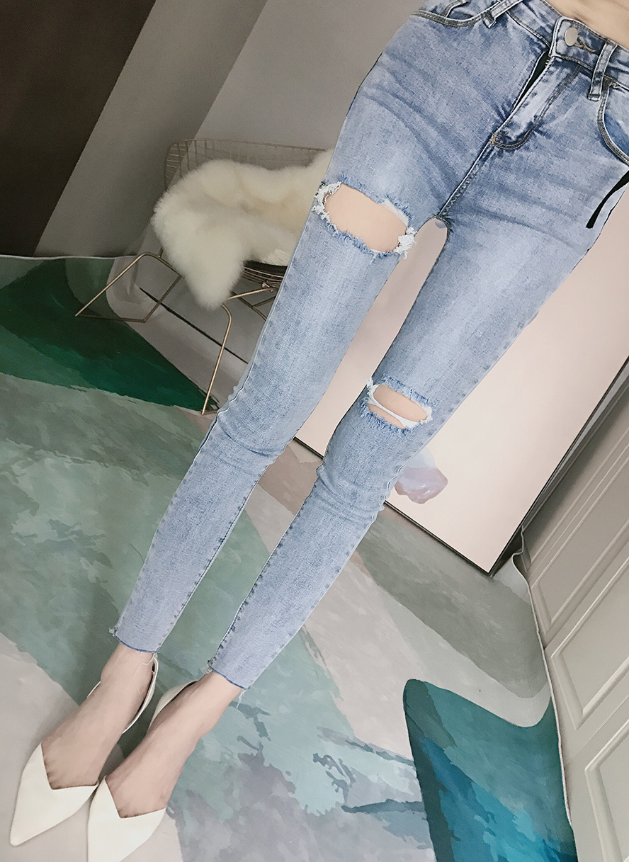 Price Not Below 53 Net Price Photo Shoot Korean-style Fashion With Holes Ripped Jeans Women's Slimming Tight-Fit Skinny Jeans