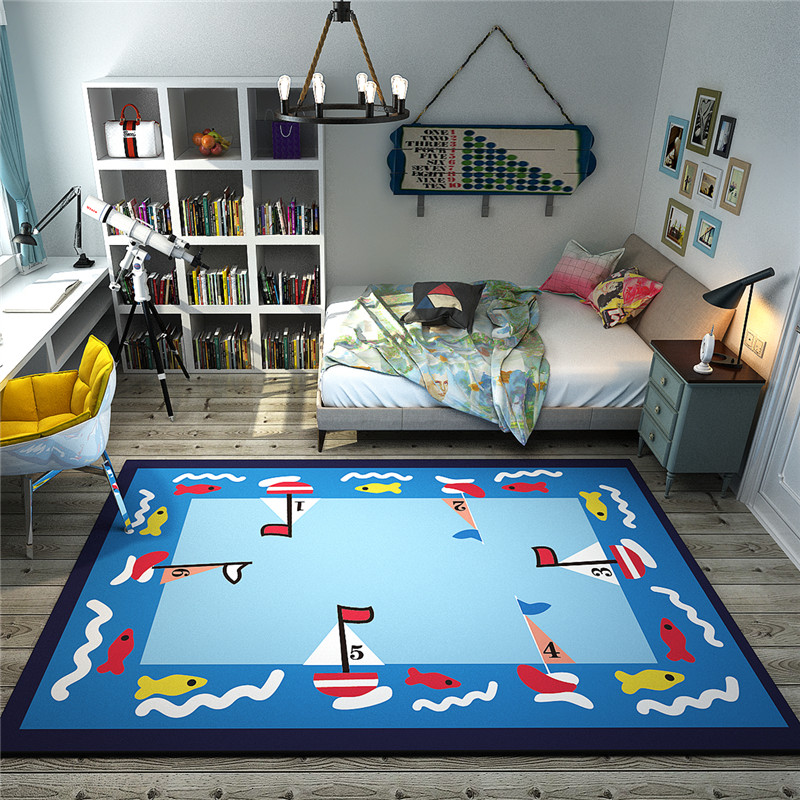 Blue Boat Space Play Doormat Area Rugs Non Slip Children Carpet Cartoon Game Decor Living Room Bedroom Playroom Gift Rug Aliexpress