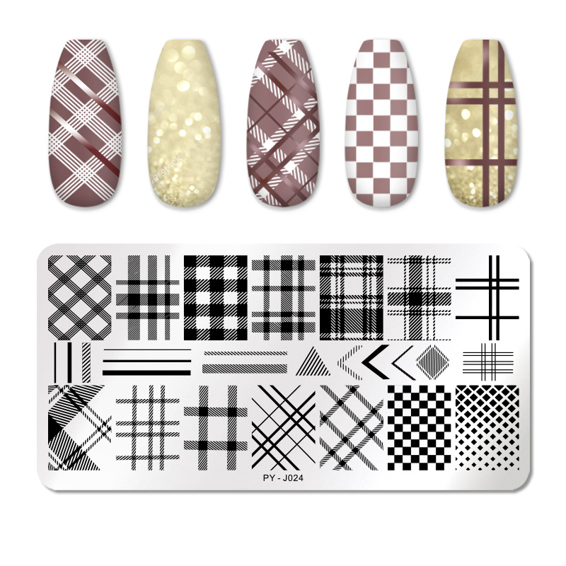 PICT YOU Striped Line Nail Stamping Plates Tropical Collection Geometric Nail Art Templates DIY Nail Image Plate Stainless Steel
