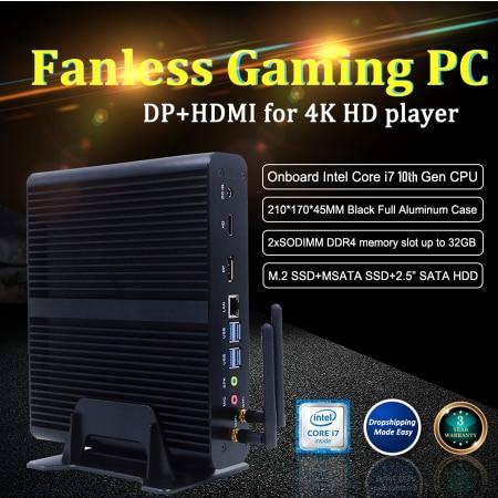 Fanless Mini Computer Intel I7 10710U 10510U Desktop PC Windows 10 12*DDR4 M.2 NVMe+Msata+2.5''SATA HTPC Nettop