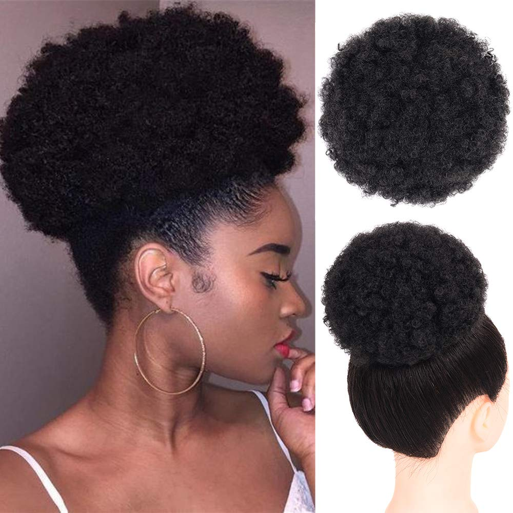 Buqi Synthetic Puff Afro Short Kinky Curly Chignon Hair Bun Drawstring Ponytail Wrap Hairpiece For Adult Black Women