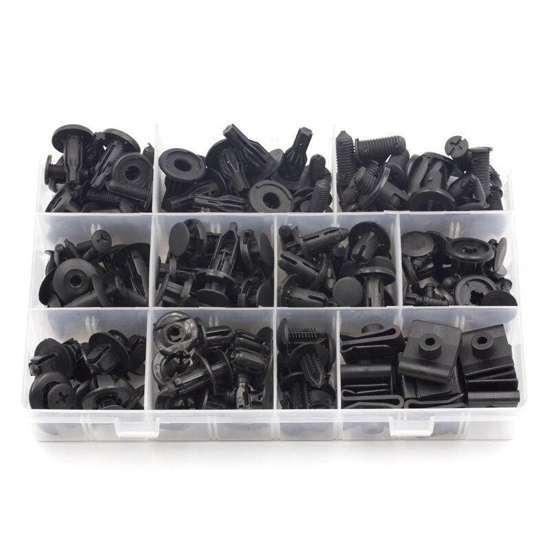 Купить с кэшбэком Universa for Toyota Sets Box Auto Plastic Bumper Fender trunk Retaining Clip Black Push in Fastener Rivet