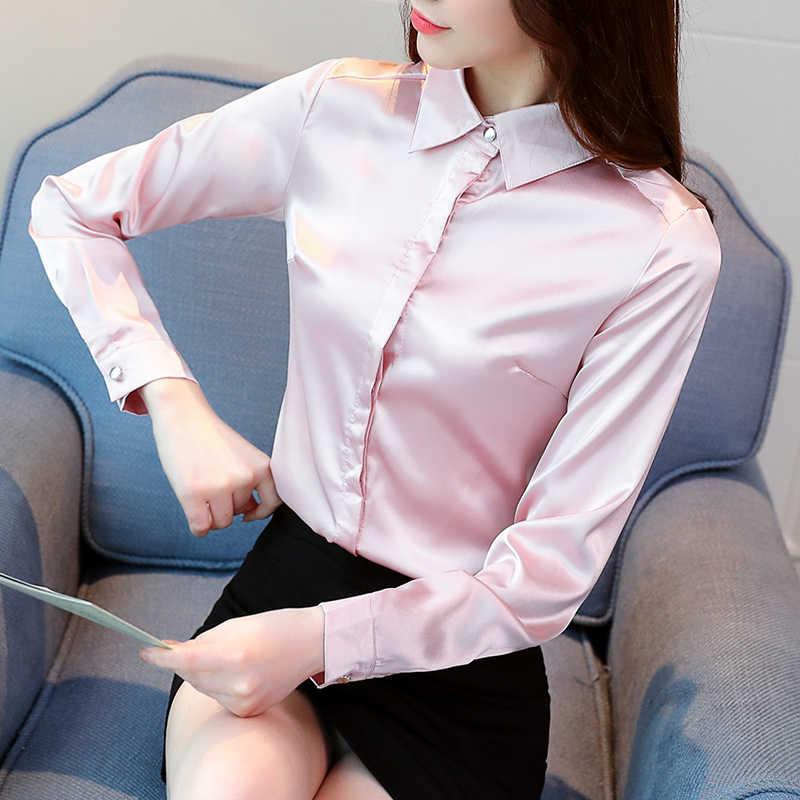 Áo Sơ Mi Lụa Nữ Satin Áo Cánh Blusas Mujer De Moda 2019 Thời Trang Hàn Quốc Nữ Lụa Áo Kiểu Áo Sơ Mi Plus kích Thước