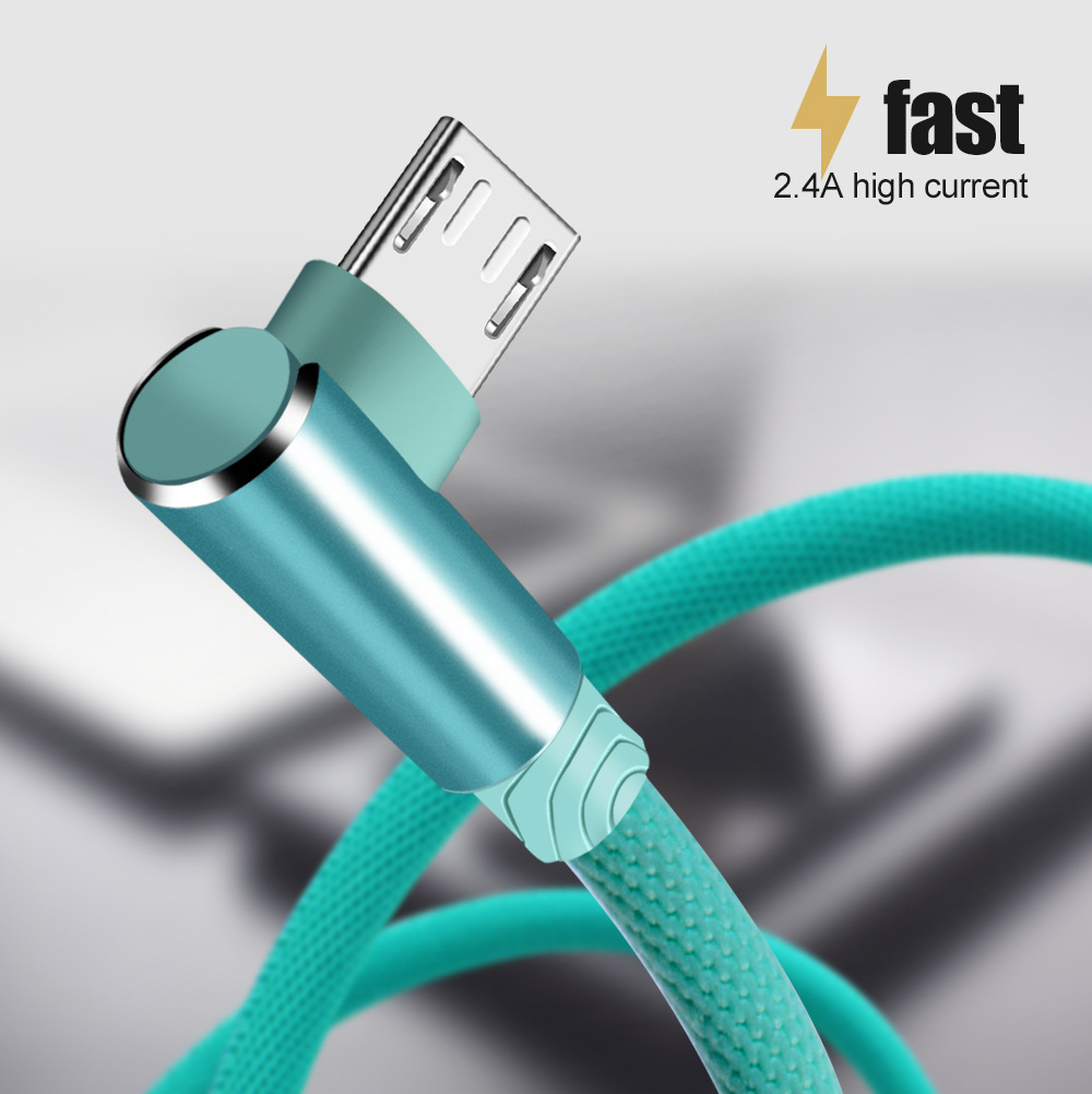 Micro USB Cable For Phone Charging Cord 90 Degree Elbow 2.4A Fast USB Type C Wire For Iphone 7 6S Android Samsung Phone(2)