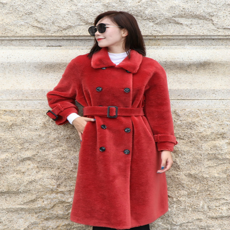 Thick Warm Winter Jacket For Women Clothes 2020 100% Real Fur Coat + Belt Korean Ladies Sheep Shearing Long Coats KL1908