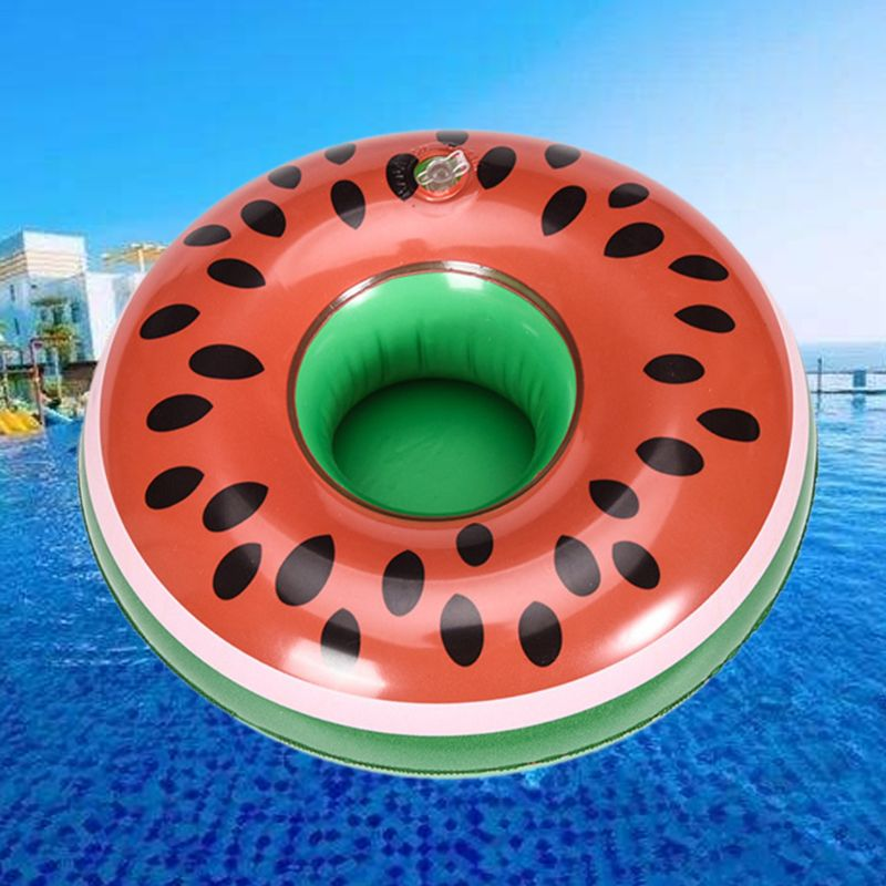 Waterpark Children Toys Watermelon Cup Holder Coaster Floating Inflatable Drink Bottle Case  R7RB