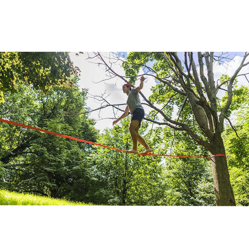Slackline Kit Outdoor Extreme Slack Line Ratchet Tensioner Fitness Equipment for Improve Balance Skills Core Strength