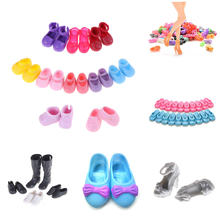 Doll Shoes Assorted Colors Mixed Style Bandage Bow High Heel Sandals for girl Dolls Accessories Kid Toy Gifts(China)