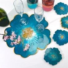 Moldes de resina de cola epoxy para artesanato coaster ferramentas de fabricação de jóias molde de resina diy sakura bandeja de chá coaster/placa de flor prato molde de silicone