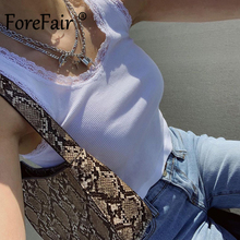Forefair Short Ribbed Tank Top with Lace Summer 2021 Women Clothing Sleeveless Sheath Square Neck Sexy White Crop Top