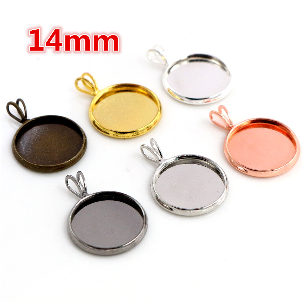 14mm 20pcs Brass Material 6 Colors Plated V Hanging Style Cameo Setting Base Cabochon Setting Connector High Quality