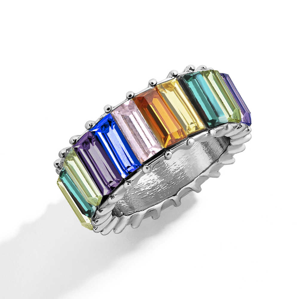 CARSINEL แบรนด์แฟชั่น 2019 ขายร้อน Rainbow Cubic Zirconia แหวนเงินสี CZ หมั้นแหวนเครื่องประดับของขวัญ