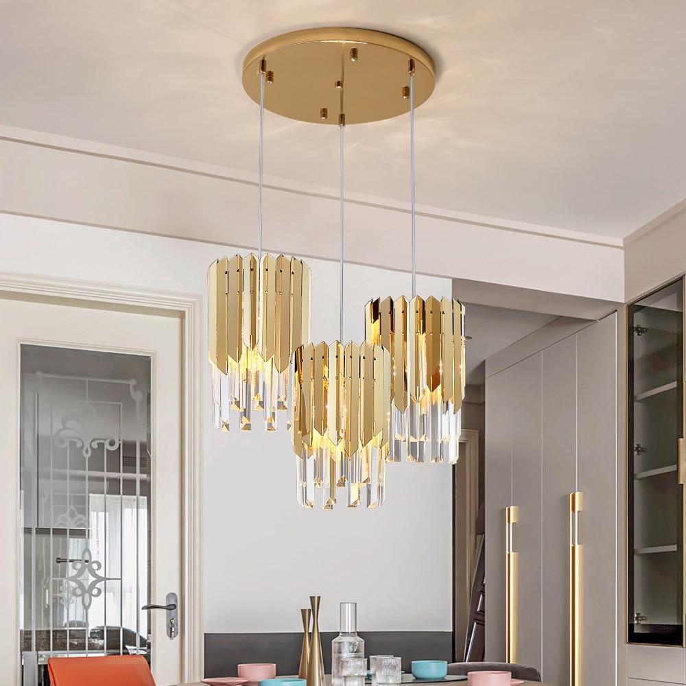 Small Round Gold K9 Crystal Led Modern Chandelier Lighting For Kitchen Dining Room Bedroom Bedside Light Luxury Indoor Lighting