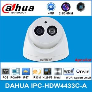 Сетевой видеорегистратор Dahua IPC-HDW4433C-A 4MP HD POE сети Starnight IR купольная IP камера Камера Встроенный микрофон камера Onvif CCTV Камера заменить IPC-HDW4431C-A