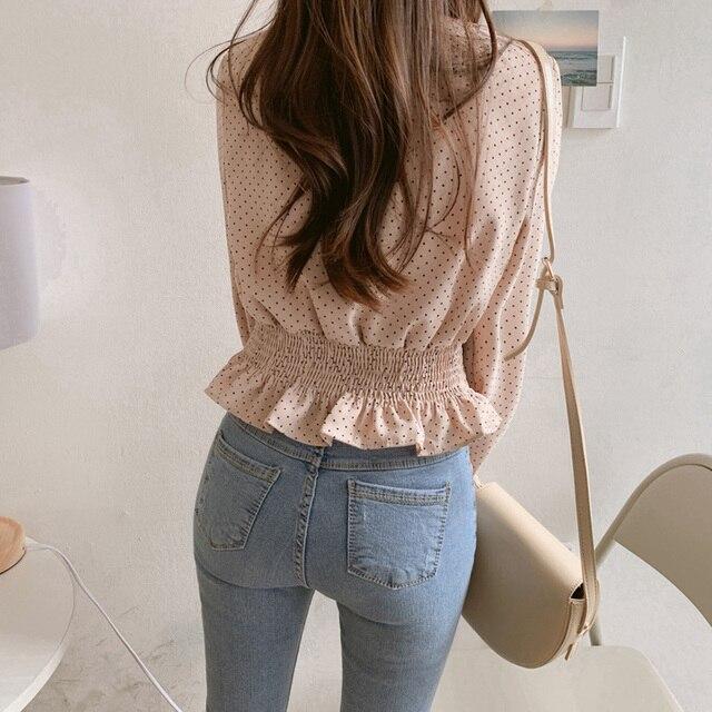 Vintage V-neck Flare Sleeve Polka Dot Women Blouse Shirts Elegant Front Buttons Slim Waist Ruffles Female Blouse blusas 6602 50 8