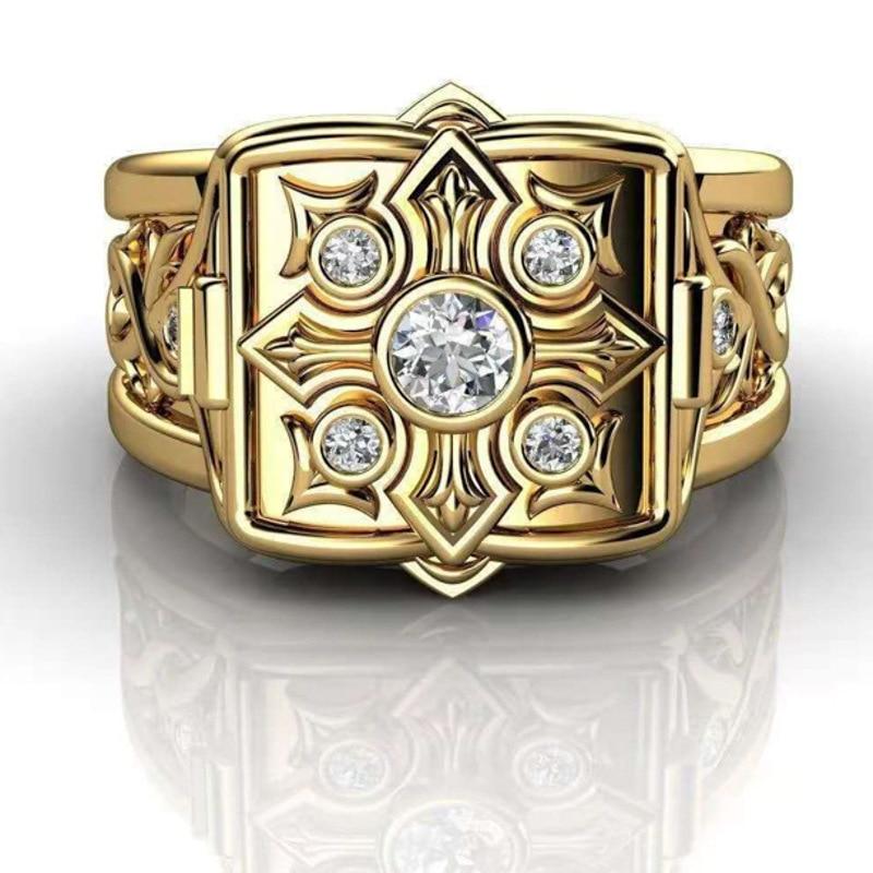 Модные золотые кресты, коробка для хранения кольцо в стиле унисекс, в стиле панк, в стиле «хип-хоп» крест лоза тайник кольца для мужчин и женщ...