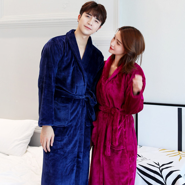 Winter New Coral Fleece Lady Robe Kimono Bathrobe Nightgown Thick Warm Long Sleeve Sleepwear Bath Night Dress Gown Size L XL 1