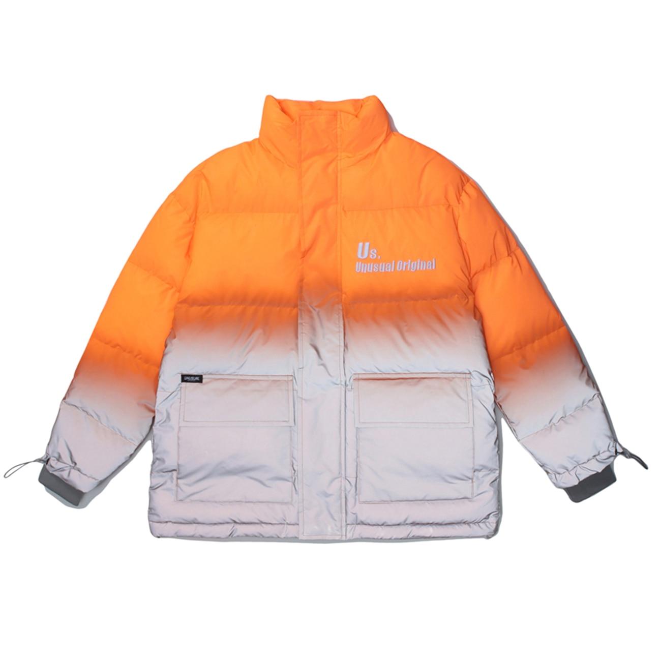 LACIBLE Thick Parka Jackets Streetwear Harajuku Gradient Reflective Punk Rock Jacket Winter Padded Zipper Jacket Coats Outwear