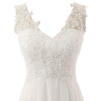 New Romantic Summer Bridal Dress Fluid feel Chiffon Sleeveless Lace Deep V-Neck Adjustable Plus Size Wedding Dress 5