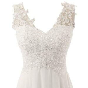 Image 5 - חדש רומנטי קיץ כלה שמלת נוזל להרגיש שיפון ללא שרוולים תחרה עמוק V צוואר מתכווננת בתוספת גודל חתונה שמלה