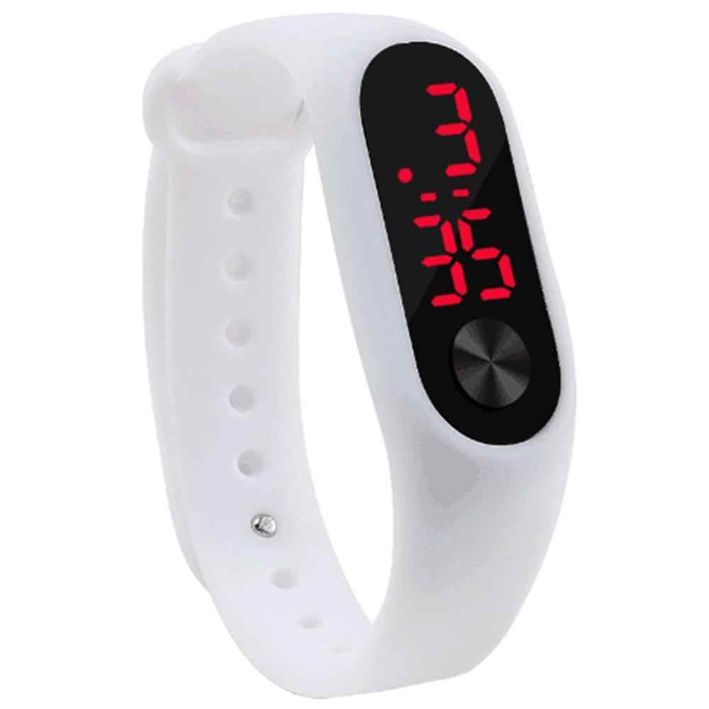Men Women Casual Sports Bracelet Watches White LED Electronic Digital Candy Color Silicone Wrist Watch for Children Kids