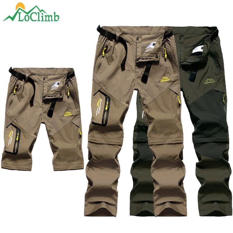 LoClimb Men's Summer Removable Hiking Pants Outdoor Camping Trip Trousers Man Trekking Pants Khaki Mountain Sports Shorts AM002