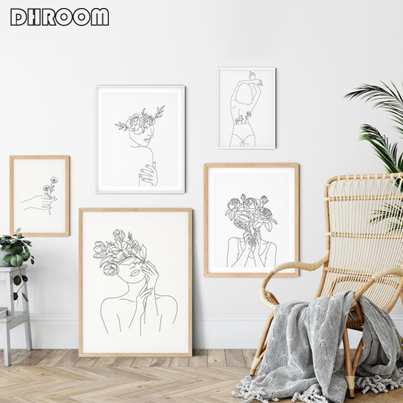 Line Drawing Wall Art Flower Head Poster and Prints Black White Line Abstract Art Canvas Painting Minimalist Painting Home Decor