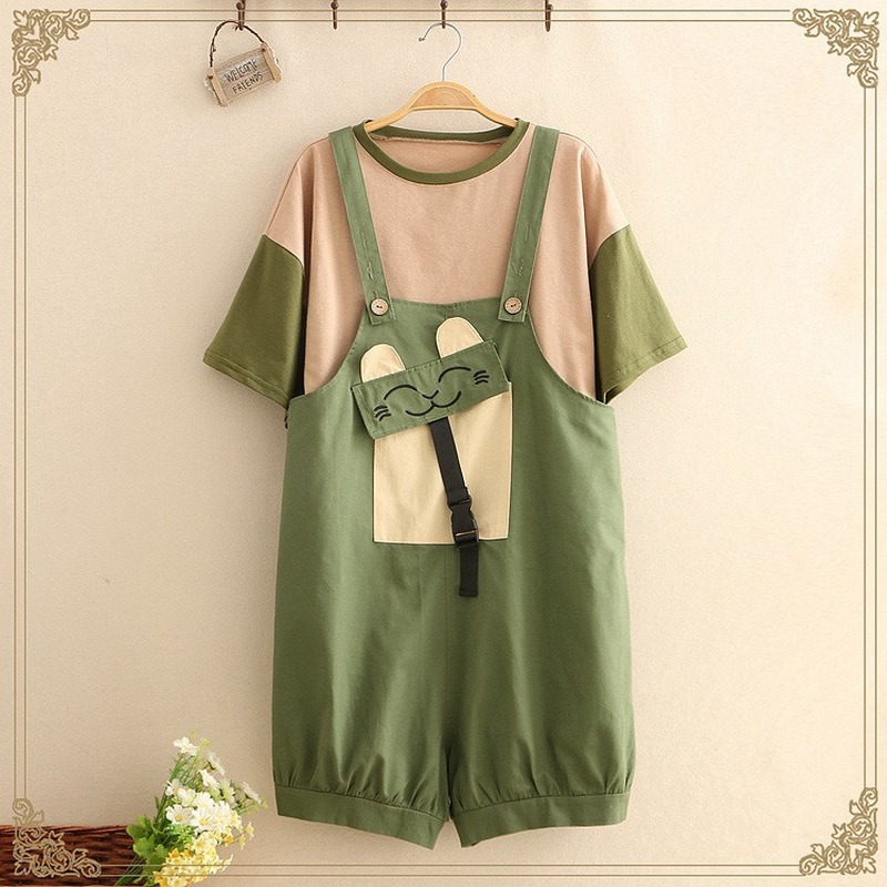 Summer <font><b>Kawaii</b></font> Women Rompers and <font><b>Jumpsuit</b></font> Japanese Mori Girl Cute Cat Embroidery Shorts T Shirt Green Casual Overalls 2 Piece Set image