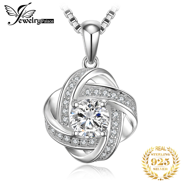 JPalace Love Knot Silver Pendant Necklace 925 Sterling Silver Choker Statement Necklace Women Silver 925 Jewelry Without Chain