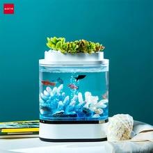 Youpin Geometry Mini Lui Aquarium Usb Opladen Zelfreinigende Aquarium Met 7 Kleuren Led Licht Home Office Aquarium