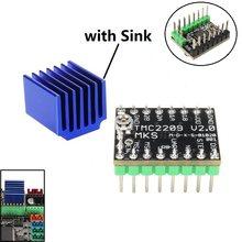 Mega tmc2209 motor deslizante driver mks v2.0 gen l peças de impressora 3d 2.0a uart stepstick ultra silencioso para ender3 gen_l robin nano